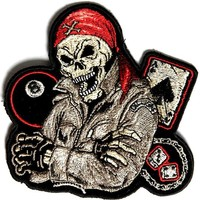 "Embroidered Iron On Patch - Biker Dude Ace of Spades 8 Ball Dice 4"" Patch"