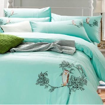 On sale Bohemia 100% cotton fine embroidery owl bird cartoon home hotel 4pcs comforter/duvet cover Bed sheet set all season/3730