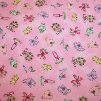 Pink cotton flannel fabric baby girl from cozylittlecorner on for Cute baby fabric prints