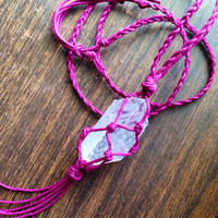 Crystal Necklace Hemp Wrapped Clear Quartz Crystal Raw Crystal Healing Crystals and Stones Hemp Crystal Necklace Long Stone Necklace