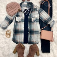 Penny Plaid Snap Flannel Top: Navy/Blush