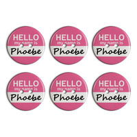 Phoebe Hello My Name Is Plastic Resin Button Set of 6