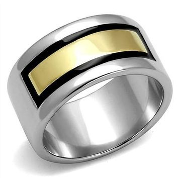 WildKlass Stainless Steel Ring Two-Tone IP Gold (Ion Plating) Men Epoxy Jet