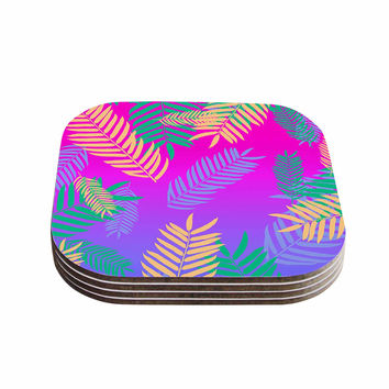 "Vasare Nar ""Tropical Cocktail"" Magenta Multicolor Art Deco Pop Art Coasters (Set of 4)"