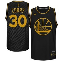 Mens Golden State Warriors Stephen Curry adidas Black Precious Metals Fashion Swingman Jersey