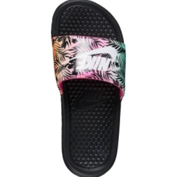 Nike Girls' Benassi Just Do It Print Slides - Black/Pink | DICK'S Sporting Goods