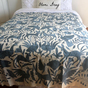 Gorgeous Gray Otomi Quilt - Otomi TwinSize Queen size Duvet or King size - Hand embroidered - Otomi - Arte Otomi - Arteotomi - Ready to ship