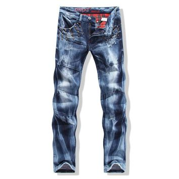 Hot Sale Strong Character Slim Pants Skull Mosaic Men's Fashion Jeans [6541741251]