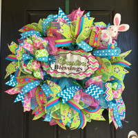 Easter wreath,Spring wreath,Easter bunny wreath, Spring deco mesh wreath, Bunny wreath,Easter mesh wreath, Front door wreath