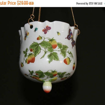ON SALE Hanging Ceramic Flower Pot Ardalt Lenwile China Hand Painted Vintage Japan , Porcelain Floral Flower Pot with Butterflies and Strawb