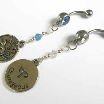Aries Belly Ring, BRONZE Zodiac Belly Button Jewelry, Personalized Piercing, Aquamarine Diamond Jewelry, March April Astrology Navel Ring