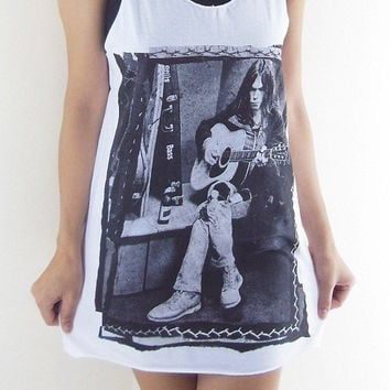 Neil Young Shirt -- Folk Country Rock Vintage Rock T-Shirt Neil Young T-Shirt Women Tank Top Vest Tunic Sleeveless White T-Shirt Size M