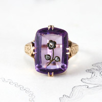 Victorian Rose of Sharon Ring, Antique 10k Carved Amethyst with Rose Cut Diamond, Confederate Rose Flower Sweetheart Momento Love Token Ring