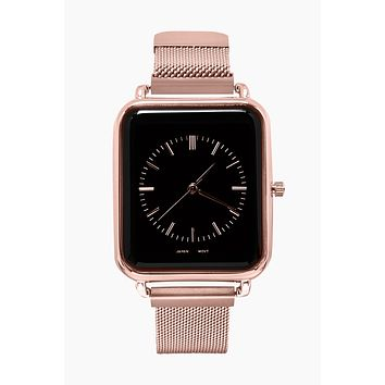 Square Watch W/ Mesh Wristband - Rose Gold/Black