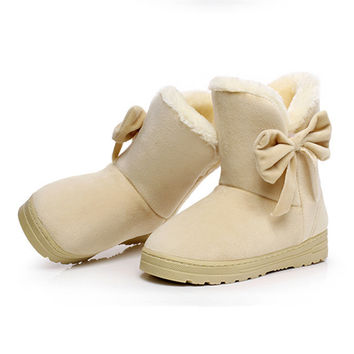 Winter Bow Boots Solid Color