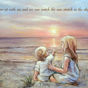 "PERSONALIZED, Names, Hair-color, quotes added, Brothers or sisters, Beach ""Good Morning Sunshine"" Laurie Shanholtzer"