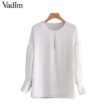 Vadim women basic dots chiffon shirt long sleeve O neck pleated blouse side split female casual tops blusas mujer LT2628