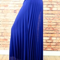 Royal Blue Chiffon Pleated Maxi Skirt