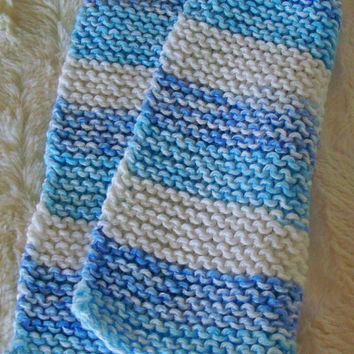 Hand crafted knit dish cloth-Blue and White