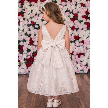Girls V Back Champagne Lace Dress with Tulle & Pearl Trim Waist 2T-12