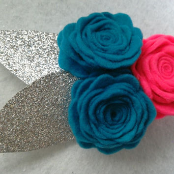Sky Pink Hairclip, alligator clip, glitter felt, babies, toddlers, infants, girls, tweens, felt, hair accessories