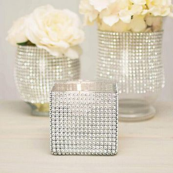 1 yard/90cm Bling Diamond mesh Wrap ribbon silver Rhinestone Mesh Roll Tape Tulle Crystal Ribbon cake wedding decoration