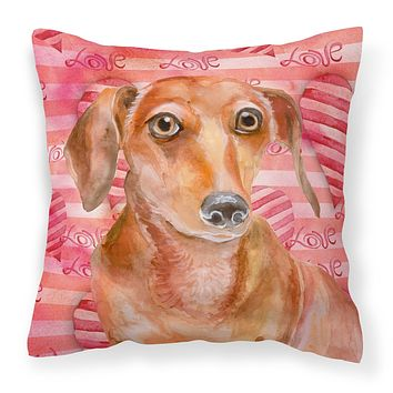Red Dachshund Love Fabric Decorative Pillow BB9794PW1818