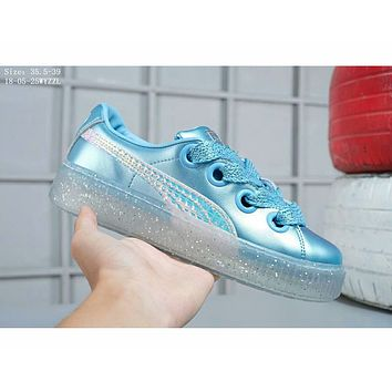 Puma Rihanna Trending Women Stylish Blue Flat Crystal Sole Platform Shoes Sneakers I-A-FJGJXMY