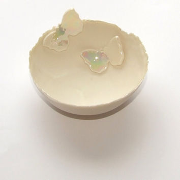Butterfly Medium Porcelain Decorative Bowl - Great for Christenings, Weddings, house warming gift