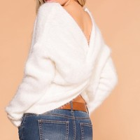 Kaitlyn White Fuzzy Twist Back Sweater