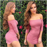 Women's Trending Popular Fashion 2016 Summer Beach Holiday Boat Neck Off Shoulder Package Hip Short Sleeve Casual Party Playsuit Clubwear Bodycon Boho Dress _ 8756