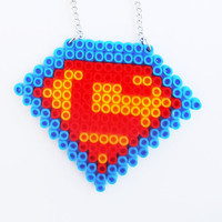 Superman Logo Fuse Beads Necklace Pendant Handmade Jewelry