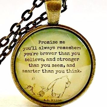 Quote Necklace | Winnie the Pooh Quote | Promise Me | Glass Pendant Necklace | Encouraging Quote