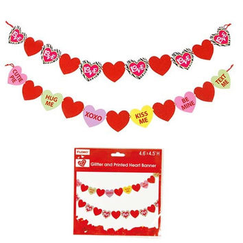 Valentine Glitter and Printed Heart Banner Case Pack 72