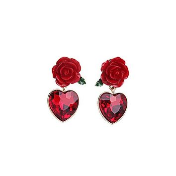ROSETTA - Heart Rose Dangle Earrings