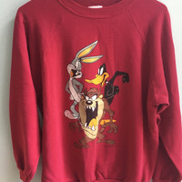 vintage 90s looney tunes crew neck sweater / bugs bunny, tazmanian devil, daffy duck / small