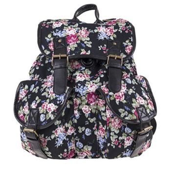 Creative Women's Canvas Lightweight Black Flower Backpack Daypack Travel Bag
