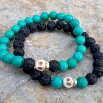 Couples Bracelet Set Skull Bracelet
