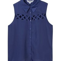 New Look Mobile | Teens Navy Cut Out Sleeveless Shirt
