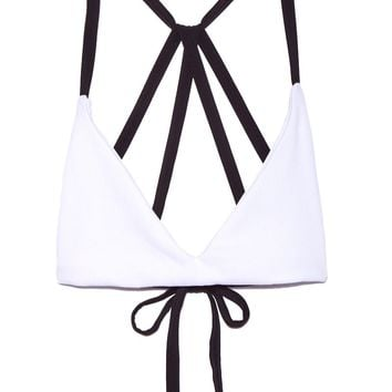 Dylan Sporty Bralette Bikini Top - Contradiction Black & White