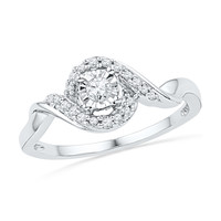 10kt White Gold Womens Round Diamond Solitaire Twist Promise Bridal Ring 1/6 Cttw 100738