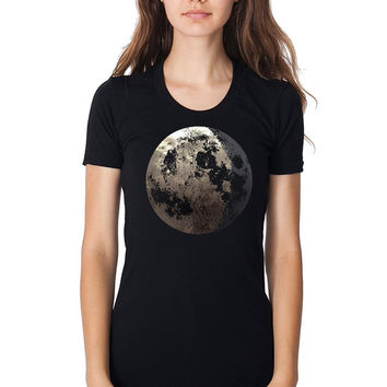 Women's Moon Shirt - almost full moon graphic with crescent, metallic silver foil screenprint, black short sleeve for girls
