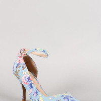 Qupid Floral Ankle Strap Pointy Toe Dorsay Pump Color: Lt Blue, Size: 6