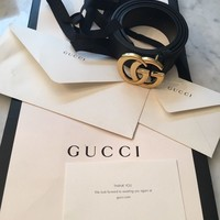 Ladies Gucci Marmont leather belt double GG buckle black 90-100cm. New With Bag