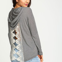 Crochet Back Striped Hoodie Top