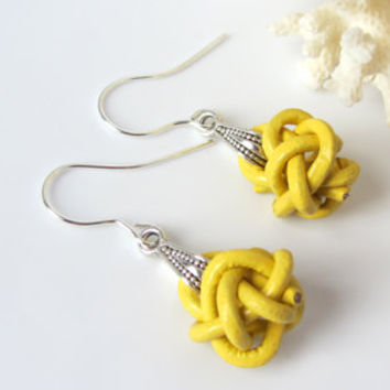 Leather Knot Earrings Celtic Knot Buttery Yellow Cord Silver Bail Summer Fashion Trend Dangles Nautical Knot Cruise Wear Beach Dangles Gift