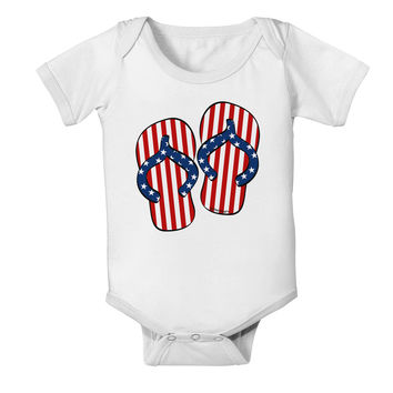 Stars and Stripes Flip Flops Baby Romper Bodysuit