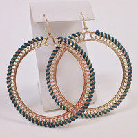 Large boho gold hoop earrings woven with turquoise threading / Gold statement earrings / Large bohemian earrings
