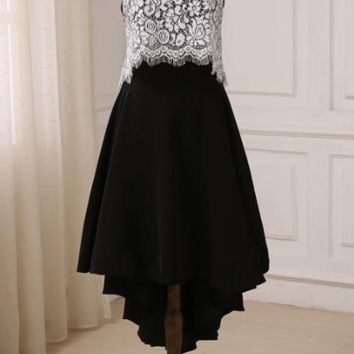 Evening Dresses Halter Neck Short Dresses For Women Top Lace Covered Short Front Long Back Prom Party Gowns