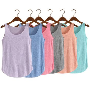 Fashion Women Summer Fitness Tank Top  Loose Cotton O-neck Slim Elastic Tank Tops  FS99